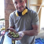 Daniel Sabourin of NationHops doing some processing at Bighead Hops.