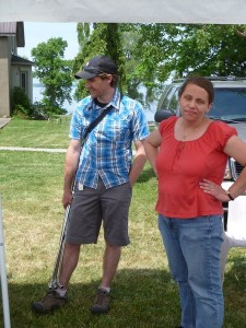 Evan Elford and Melanie Filotas, OMAFRA share a moment at the at the OHGA 2012 spring informational and Wind Dance Stable and Farms, Picton, hosted by Larry Roache.